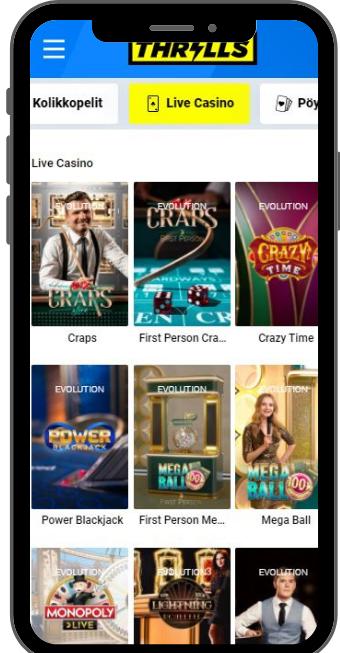 Thrills Casino mobiili