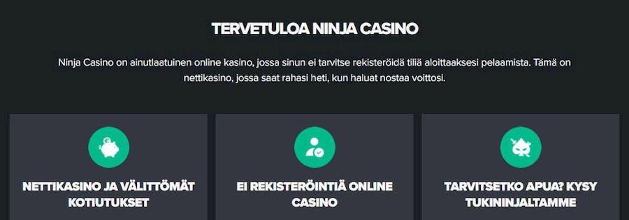 Ninja Casino rekisteröitymisvapaa kasino