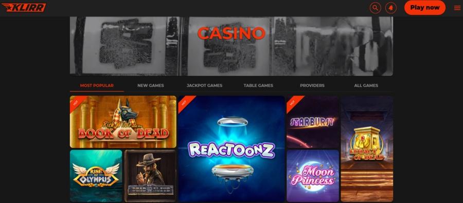 Klirr Casino slots